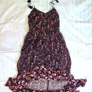 Express maxi high low floral ruffle dress